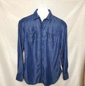 Talbots Long Slit Back Dark Wash Denim Shirt XS
